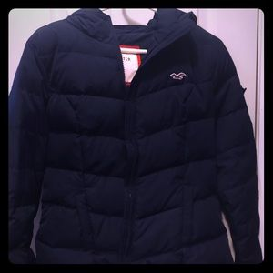 Womens Hollister large hooded navy puff coat
